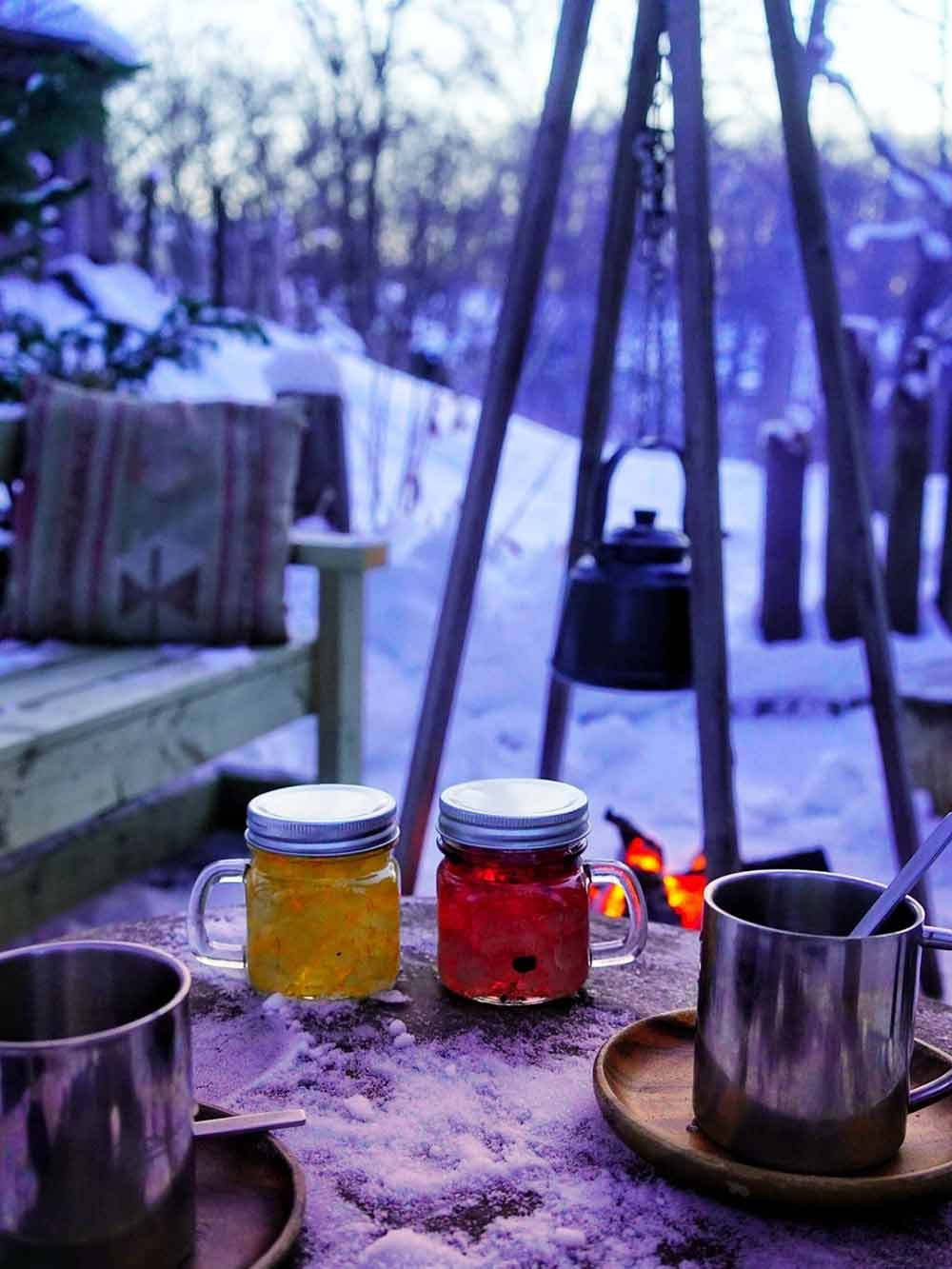 手作りキャンディスと冬の庭