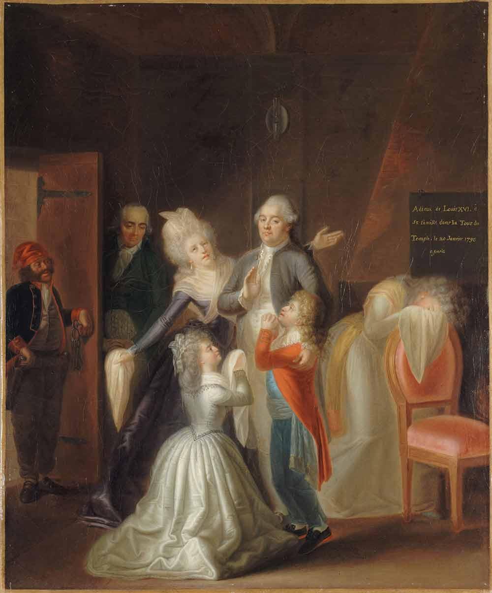 家族に別れを告げるルイ16世
