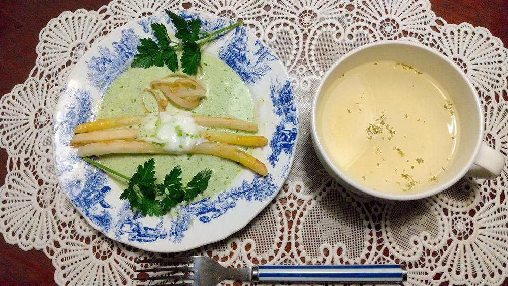 ホワイトアスパラのバター炒めバジルソース風味