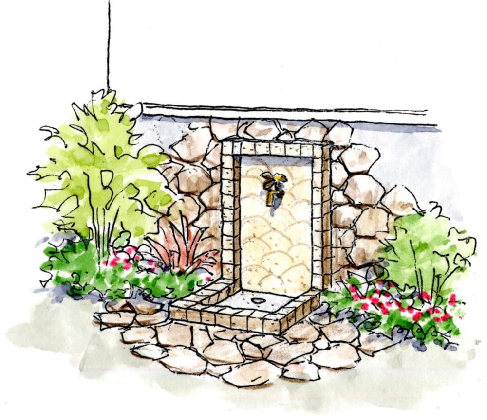 立水栓をオブジェに植栽と石貼りで自然風にデザイン