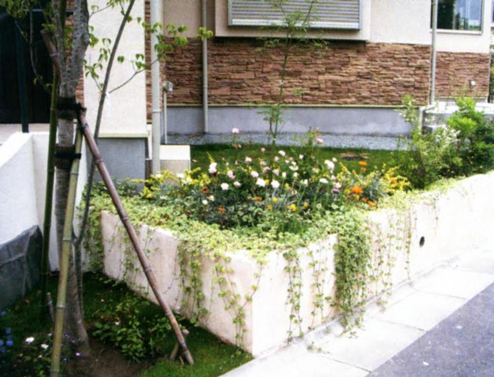 擁壁や立ち上がりをツル植物で圧迫感をなくす