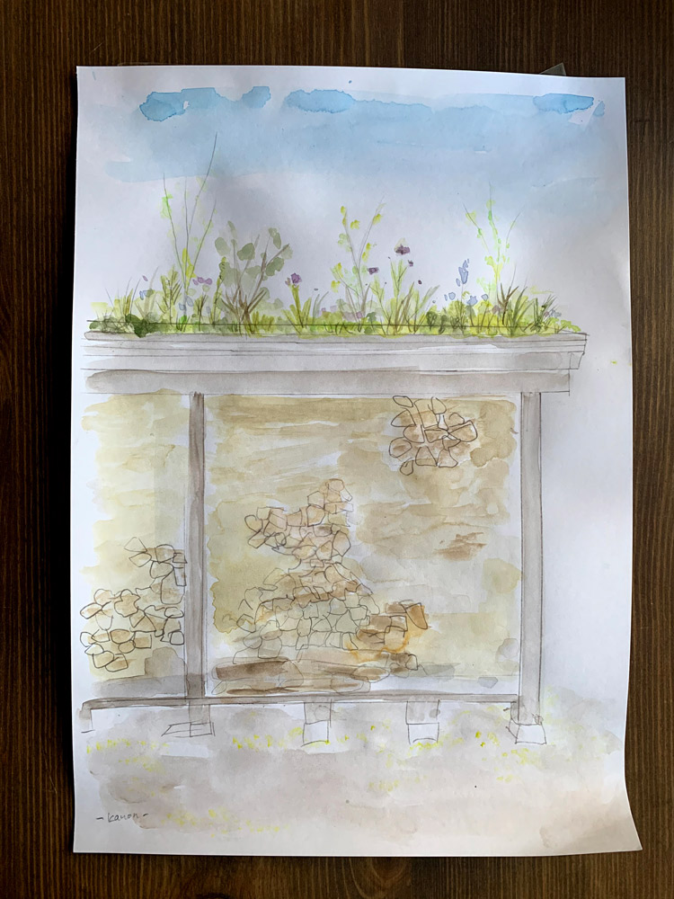 野に自然に生えたかのようになるかな?鳥さんの落とし物から小さな木が生えてこないかな?と妄想して、ラフスケッチを描いたりしました