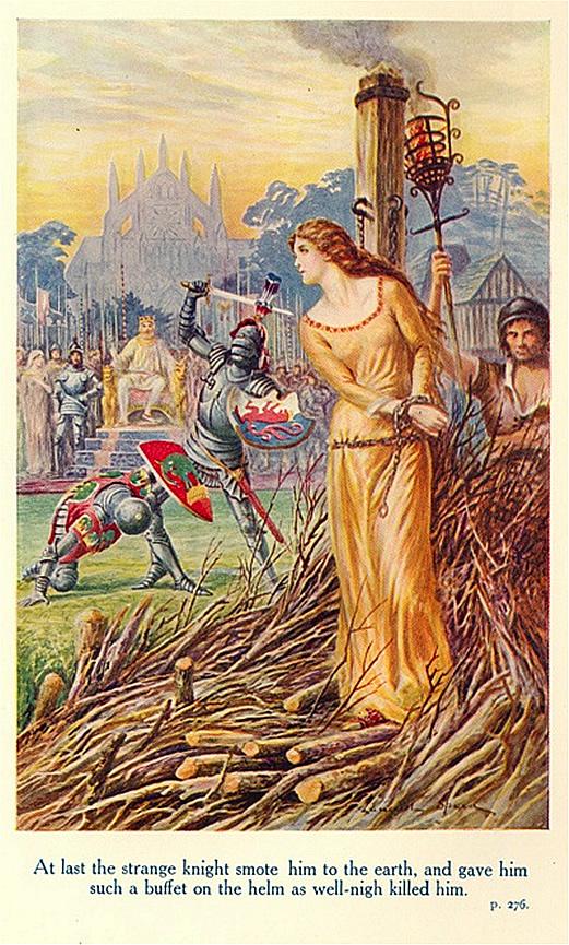 '王妃グィネヴィアを救出するランスロット'