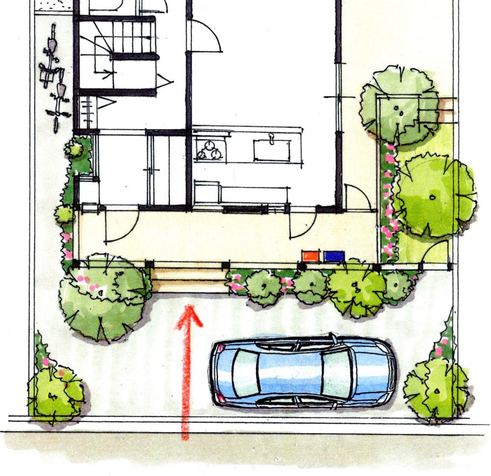 図1:階段に向かう単調な来訪者の動線