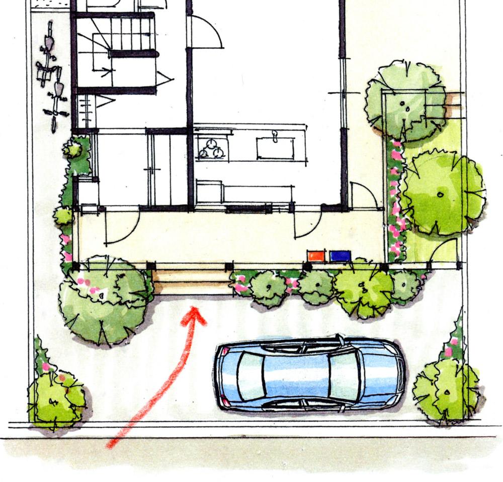 図2:左右の植栽を眺めながら階段に向かう来訪者の動線